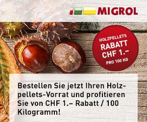 Holzpellets bei Migrol online bestellen und CHF 1 pro 100kg sparen