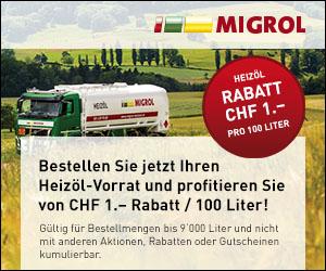 Migrol Banner: CHF 1 Rabatt pro 100 Liter